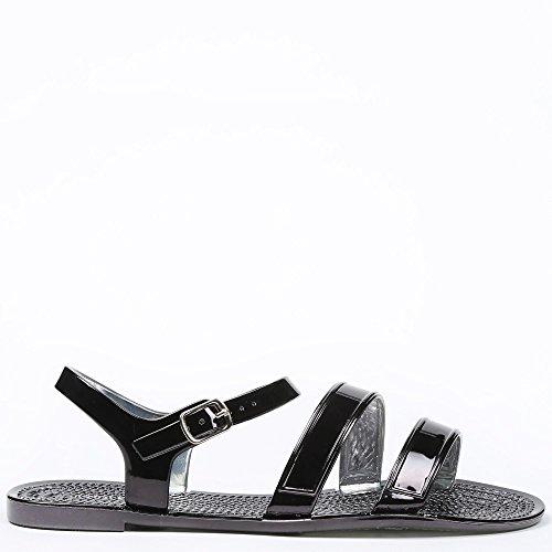 Ideal-Shoes Sandali piatti in sovrapposizione Sandra Nero (nero)