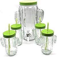 Dispensador de 3,8 Litros de Cristal con Forma de Cactus y 4 Jarras a