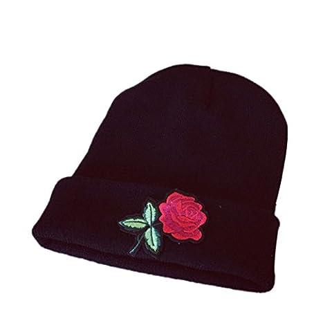DAYLIN Women Winter Warm Rose Embroidery Applique Crochet Ski Hat Braided Cap (D)