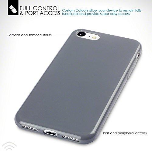 Terrapin TPU Gel Custodia per iPhone 8 / iPhone 7 Cover, Colore: Nero Grigio