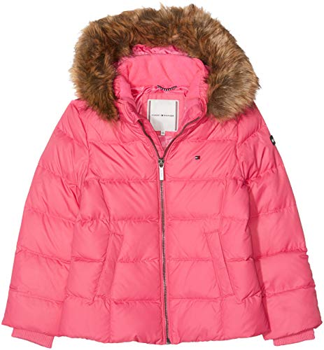 Tommy Hilfiger Mädchen Jacke Essential Basic DOWN Jacket, Rosa (Pink Flambe 501), 92