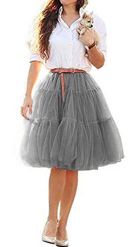 CoutureBridal® Jupe Tutu Femme Courte 6 Couches Elastic Ceinture Princesse Tulle 60cm Gris
