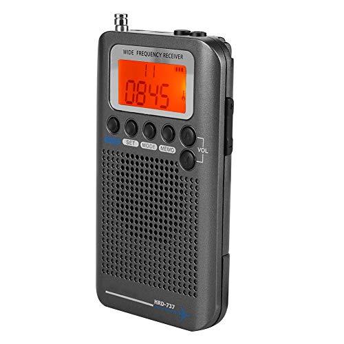VBESTLIFE Tragbarer Tragbares Digitales Radio, VHF Flugzeugband Radioempfänger mit Antenne, Vier Suchmodus, leistungsstarker Speicher für Outdoor-Camping-Wandern(Gold) - Ihome-radiowecker