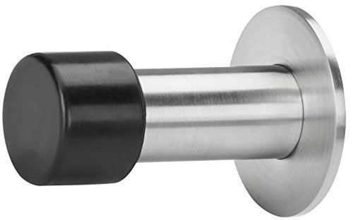 Gedotec Türpuffer Edelstahl Wand-Türstopper Gummi-Puffer rund für Türgriffe - Modell FOKUS | Tiefe: 60 mm | 22 mm Gummiauflage | 1 Stück - Stopper inkl. Befestigungsmaterial