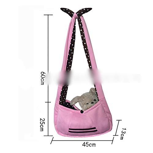 Haustier Rucksack Hund Out Single Shoulder Slash Bag Schlaue Bogen Umhängetasche Hund Soft-Sided Carriers (Farbe : Rosa, Size : 25 * 45cm) ()
