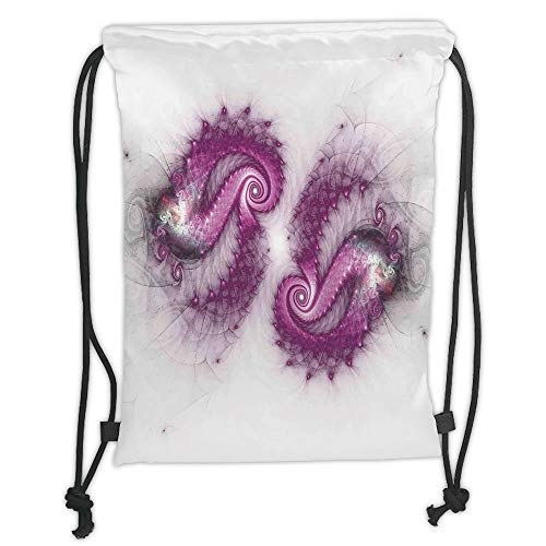 Drawstring Backpacks Bags, Spiers Decor, Psychedelic Bizarre Helix Lettering Pattern with Illuminations Futuristic Image, Purple Soft Satin, 5 Liter Capacity, Adjustable String Closure,