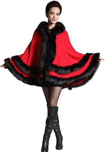 Plaer Scialle da donna in finta pelliccia di volpe, con cappuccio Rosso