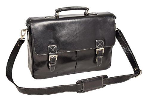 Herren Echtes Leder Aktenkoffer Schulter Laptop Dokumente Büro Tasche Brig Schwarz (Klappe Attache Über Bag)