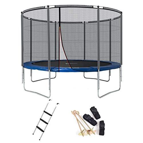 Ampel 24 Outdoor Trampolin 366 cm blau mit verstärktem Netz, Belastbarkeit 160 kg, Set mit Leiter & Windsicherung, Sicherheitsnetz 8 gepolsterte Stangen und Stabilitätsring