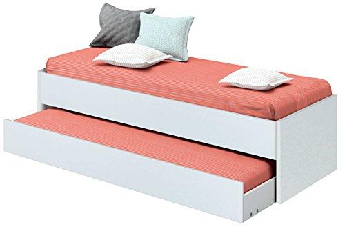 Cama nido de dormitorio juvenil color blanco brillo, somier inferior incluido, para colchones de 190x90cm. 202cm ancho x 97cm fondo x 54cm altura
