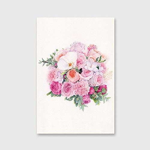 RTDHU Peinture Au Numéro Rose Prune Fleur Pêche Daisy Calla Lily Peinture À l'huile Numérique Bricolage Auto-Peint Peinture Décorative 40X50Cm sans Cadre