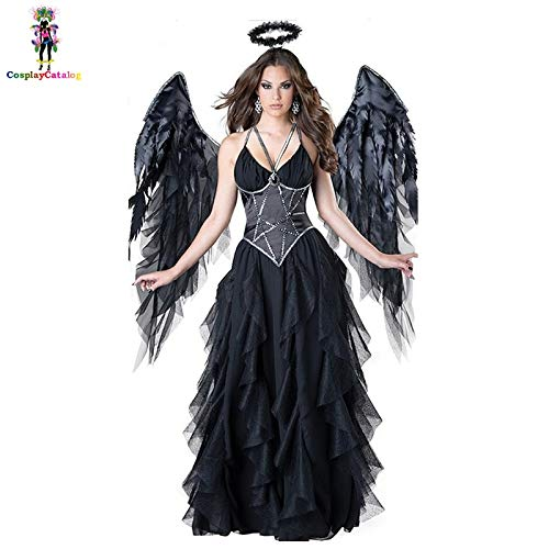 HalloweenErwachsene Frauen Halloween Evil Engel Kostüm Black Party Maskerade Cosplay Kleider Scary Mage Uniformen wigh - Engel Kostüm Männlich