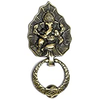 H&T Enterprises Brass Pan Leaf Lord Ganesha Knocker with Hanging Ring Door Knocker/Door Decor with Antique Finish (Pack…