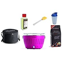 Lotus Barbacoa Starter Juego de 1 x lotusgrill himbee rpink (especial Color Limited Edition) 1 x haya Carbón vegetal 1 kg, 1 x quemar 200 ml, ...