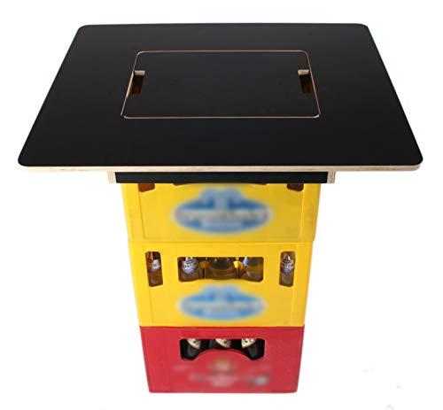 Bierkastentisch - mit integriertem Flaschenöffner - hochwertiges Multiplex - Stehtisch Bistrotisch Tischaufsatz (Schwarz)