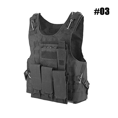 Caccia Tattico Gilet Regolabile Esercito Militare Assault Combat Vest, Airsoft Paintball Assault Carrier Gilet, Gilet protettivo da gioco per giungla all\'aperto con sacchetti rimovibile (#03 - Black)