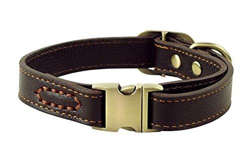 Rantow Collier réglable en cuir pour chiens, col de 30 cm à 43 cm et 2 cm de large, collier à la main solide pour chiens moyens / petits (marron)
