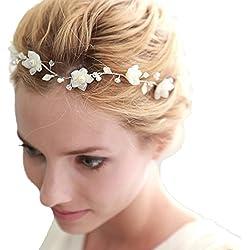 LI&HI Vintage Exklusive Custom Retro elegant Damen Süß Blume Braut Kopfschmuck Haarnadel Haarbänder Stirnband Haarreif Haarschmuck Stirnschmuck Hochzeit Haar wrap