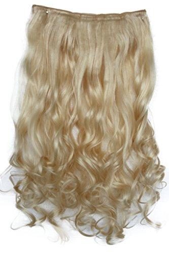 PRETTYSHOP 70cm oder 55cm Clip In Extensions Halbperücke Haarverlängerung Haarverdichtung Haarteil hitzebeständig wie Echthaar div. Farben (55cm platinblond #613 C56-1)