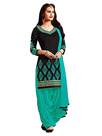 PanashTrends Women's Cotton Embroidery Work Semi-stitched Salwar Suit (Black and Firozi, Free Size)