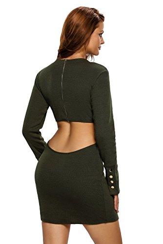 La Vogue Femme Robe Tricot Bodycon Hanche Découpes Hiver Soirée Vert