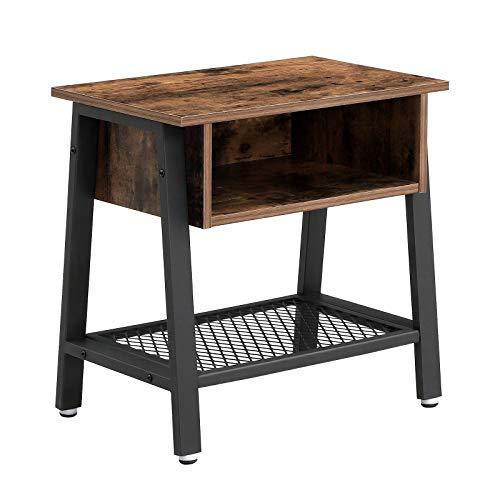 VASAGLE Vintage Nachttisch, stabiler Beistelltisch mit Gitterablage und offenem Fach, großer Stauraum, fürs Schlafzimmer, Wohnzimmer und Büro LET91X -