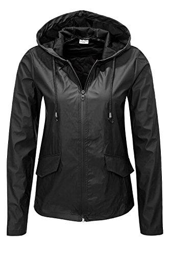 Jacqueline de Yong ONLY Damen Übergangsjacke Regenjacke Windbreaker SHORT RAINCOAT Black