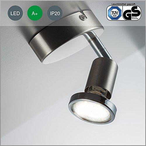 LED Decken-strahler / Decken-leuchte / Spot / GU10 / 3 Watt / 250 Lumen / schwenkbar / inkl. Chromring / matt-nickel
