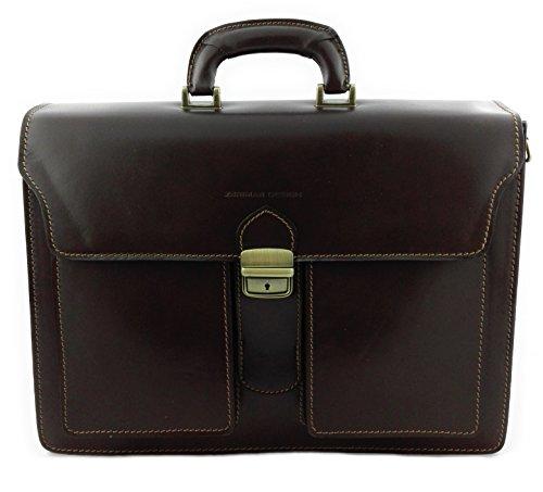 Zerimar Borsa Valigetta realizzata in pelle bovina di alta qualità SALDI- ORA O MAI Più compartimenti Misure 40x30x15 cms Colore Marrone