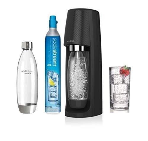 Sodastream Pack SPIRITNFUSE - Machine à Eau pétillante + 2 Bouteilles, Plastique PET , Noire, 19,5 x 19,5 x 43,5 cm