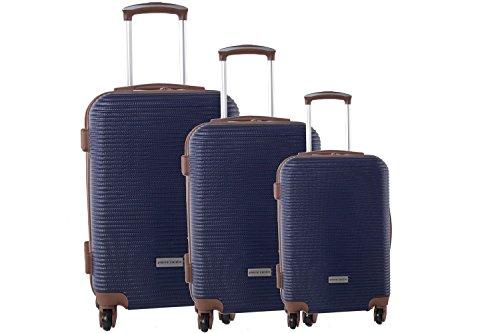 3 Maletas rígidas PIERRE CARDIN azul cabina para viajes S326