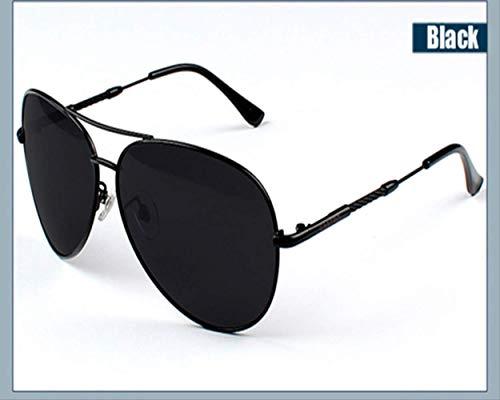LKVNHP Hohe Qualität Männer Sonnenbrille Legierung Rahmen Polarisierte Len Klassische Spiegel Gläser Männliche Sonnenbrille Eyewears Für Männer Oculos De SolSchwarz