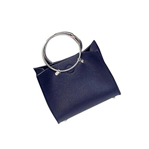 Transer 1Set of Single Shoulder Bag+Clutch Bag Women Shoulder Bag Girls Artificial leather Hand Bag +Clutch Bag, Borsa a spalla donna Grey 20cm(L)*17(H)*9cm(W) Black