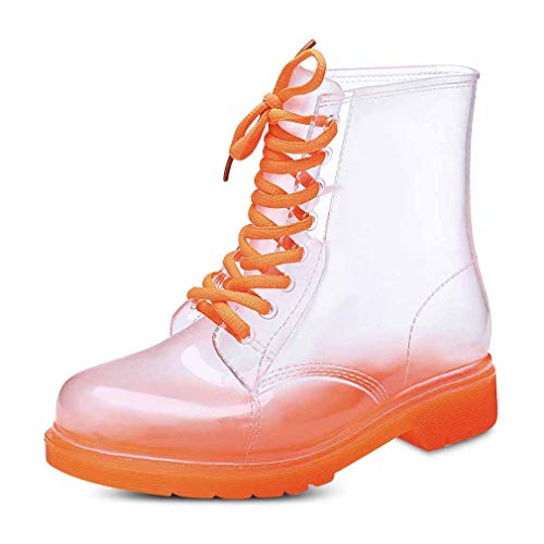 Women Wellington Boots Simple Personality Lace-Up Martin Style Rain Shoes Round Head Premium PVC Transparent Waterproof Rain Boots 7 Colors