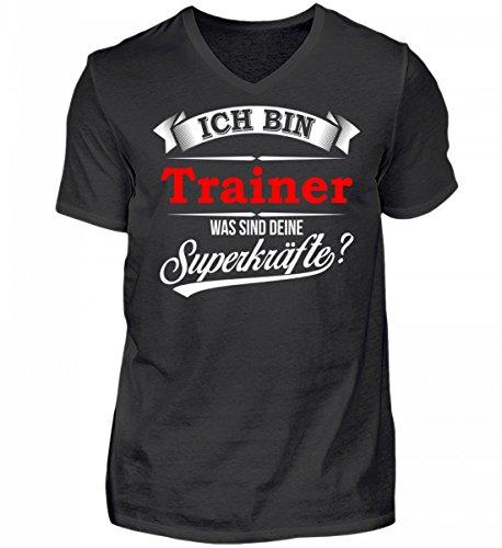 Shirtee Hochwertiges Herren V-Neck Shirt - Trainer Coach Fußballtrainer Basketballtrainer Superkräfte Geschenk Schwarz