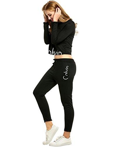 FastDirect Donna 2 Pezzi Tuta Da Ginnastica Jogging Tuta Sportiva Pullover Felpa Fitness Felpa Top e Pantaloni Lunghi o Corti con Cappuccio o Senza Cappuccio Tuta nera pantalone lunga girocollo