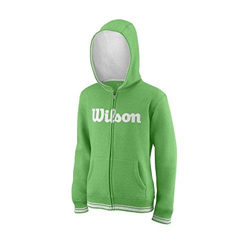 Wilson Jungen/Mädchen Sport-Kapuzenweste, Y Team Script FZ Hoody, Baumwolle/Polyester, Grün/Weiß, Größe: S, WRA767002
