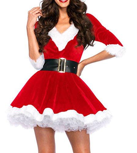 Santa Kostüm Miss Baby - Scothen Sexy Damen Weihnachten Kostüm Kleid Damen Weihnachtskleid Santa Kostuem Tanzkleid Off Schulter Minikleid Weihnachtsmann Damen Kostüm BH Set Miss Santa für die Weihnachtsfeier oder Party