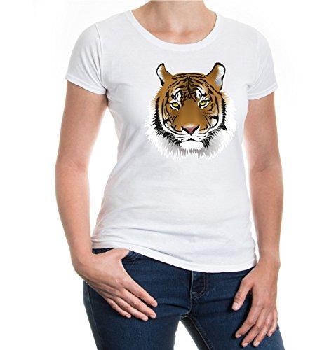 buXsbaum® Girlie T-Shirt Tiger-Face-Emblem White-z-direct