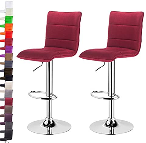 Woltu BH60bd-2-a 2 x swivel barstools with backrest breakfast bar chairs with linen fabric seat Bordeaux Linen
