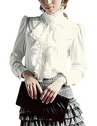 Blusas con Volantes De Loto De Manga Larga Lolita Victoriana Vintage para Mujer