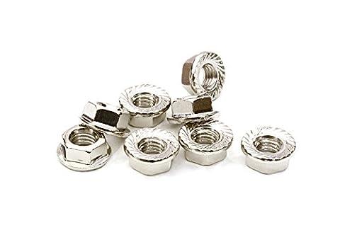 Integy RC Modélisme Hop-ups C26779SILVER M5 Size Serrated 5mm Roue Nut Flanged 8pcs for La plupart 1/10 Scale
