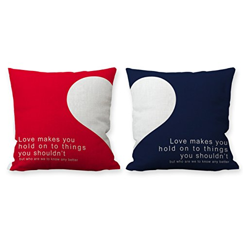 Huabei 2 pack federe per cuscino in contone lino copricuscino decorativo per casa divano sedia stanza letto 45 x 45 cm