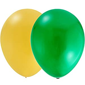 Theme My Party Latex Metallic HD Balloons (Green & Yellow_Pack of 50)