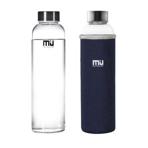 Miu Color 510g Glas Wasser Flasche-Umweltfreundlich Borosilikat Glas, kein BPA-, PVC- und zu führen, mit Tragbare Nylon Ärmel, Flasche Bürste, für Outdoor, Laufen, Fahrrad, Auto, Reisen, unisex, 18.5 Ounce Glass Water Bottle Without Infuser, 1pack of 18.5oz, Dark Blue Sleeve