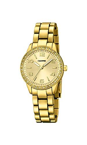 Calypso–Reloj de cuarzo para mujer con oro esfera analógica pantalla y pulsera de plástico Oro k5647/2