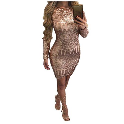 Damen Kleider Xinan Abendkleid Cocktailkleid Frauen Langen Ärmeln Pailletten Leakback Rucksack Hip Dress (S, Gold) (Größe Pants Stricken Plus)