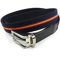 FJR-ArtPiel - Cinturón elástico bandera de España 35mm con extremos en Piel Ubrique - Alta Calidad - Azul Marino