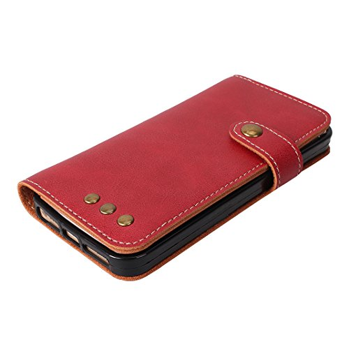 Coque de Protection iPhone 5/5S/SE Souple Cuir, Moon mood® Protable Rétro Etui en PU Cuir pour Apple iPhone 5S SE Smartphone Flip Folio Cover BookStyle Case Debout Fonction Stand Portefeuille Cas de T Grand rouge
