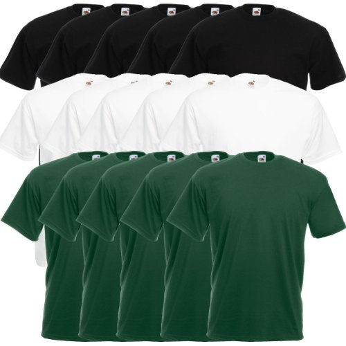 Fruit of the Loom Original Valueweight T Rundhals T-Shirt F140 5er 10er 15er 20er Pack 5x black 5x white 5x bottle green